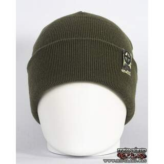 EB Beanie Camo Label – Army Green