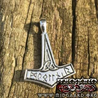 Thors hammer with runes (Pendant in silver)