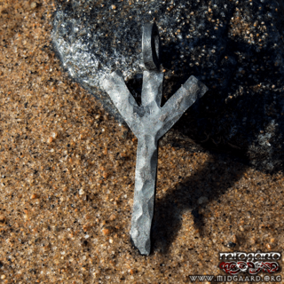 Hand-forged Algiz rune